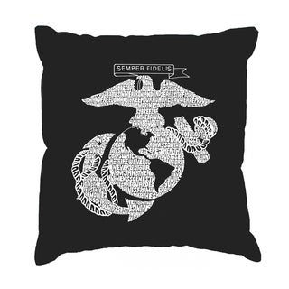 LA Pop Art 'Lyrics to the Marines Hymn' 17-Inch Throw Pillow Cover