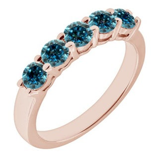 JewelMore 14k Rose Gold 1ct TDW Blue Diamond Five Stone Anniversary Ring (Blue, I2-I3)