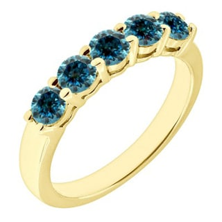 JewelMore 14k Yellow Gold 1ct TDW Blue Diamond Five Stone Anniversary Ring (Blue, I2-I3)