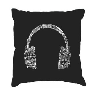 LA Pop Art 'Headphones Languages' Black Cotton 17-inch Throw Pillow Cover