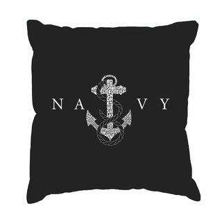 LA Pop Art 'Lyrics to Anchors Aweigh' Black Cotton 17-inch Throw Pillow Cover