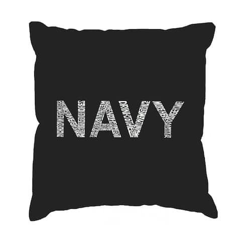 LA Pop Art 'Lyrics to Anchors Aweigh' 17-Inch Square Throw Pillow Cover