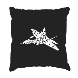 LA Pop Art 'Fighter Jet - Need for Speed' Black Cotton 17-inch Throw Pillow Cover