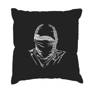 LA Pop Art Black Cotton Ninja 17-inch Throw Pillow Cover
