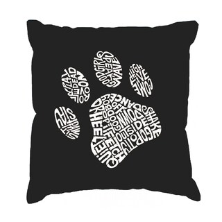LA Pop Art 'Dog Paw' Black Cotton 17-inch Throw Pillow Cover