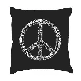 LA Pop Art The Word Peace in 77 Languages Cotton 17-inch Throw Pillow Cover