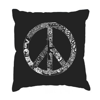 LA Pop Art Peace, Love, and Music 17-inch Throw Pillow Cover