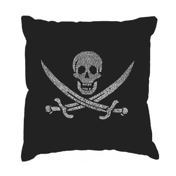 LA Pop Art 'Lyrics to a Legendary Pirate Song' Black Cotton 17-inch Throw Pillow Cover