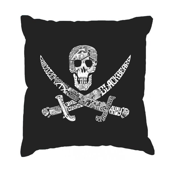 LA Pop Art Pirate Captain, Ships, and Imagery 17-inch Throw Pillow Cover
