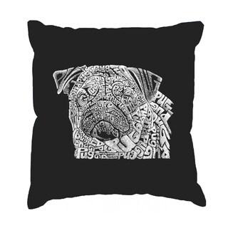 LA Pop Art Pug Face Cotton 17-inch Throw Pillow Cover