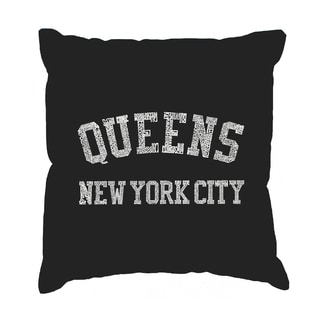 LA Pop Art 'Popular Neighborhoods in Queens, NY' Black Cotton 17-Inch Throw Pillow Cover