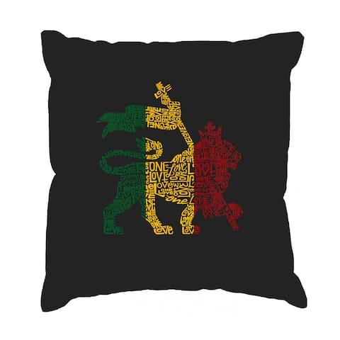 LA Pop Art Rasta Lion One Love 17-inch Throw Pillow Cover