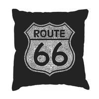 LA Pop Art 'Cities Along the Legendary Route 66' Black Cotton 17-inch Throw Pillow Cover