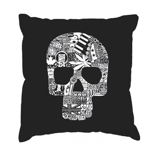 LA Pop Art Sex, Drugs, Rock and Roll Cotton 17-inch Throw Pillow Cover