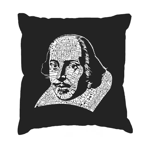 LA Pop Art 'The Titles of All of William Shakespeare's Comedies and Tragedies' Black Cotton 17-inch Throw Pillow Cover