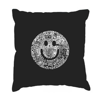 LA Pop Art 'Smile in Different Languages' Black Cotton 17-inch Throw Pillow Cover
