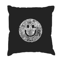 LA Pop Art 'Smile in Different Languages' Black Cotton 17-inch Throw Pillow Cover