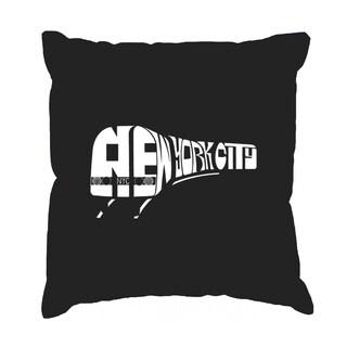 LA Pop Art 'NY Subway' Black Cotton 17-inch Throw Pillow Cover