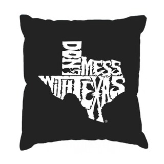 LA Pop Art 'Don't Mess With Texas' Black Cotton 17-inch Throw Pillow Cover