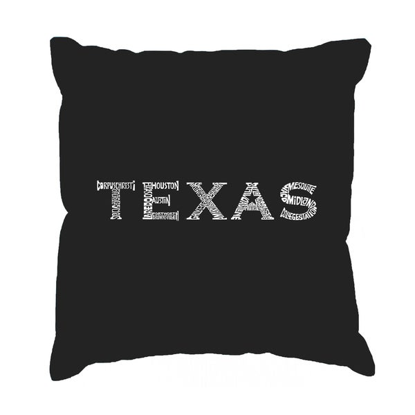 LA Pop Art 17 Inch Throw Pillow Cover - The Great Cities of Texas