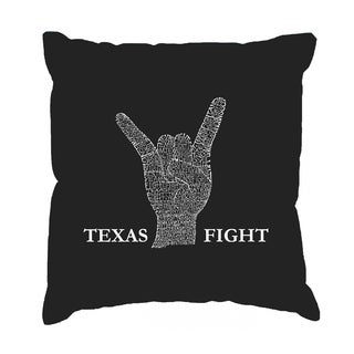 LA Pop Art 'Longhorns Fight Song' Cotton 17-inch Square Throw Pillow Cover