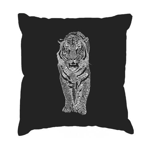 LA Pop Art 'Tiger' Black Cotton 17-inch Throw Pillow Cover