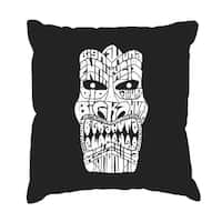 LA Pop Art 'Tiki Big Kahuna' Black Cotton 17-Inch Throw Pillow Cover