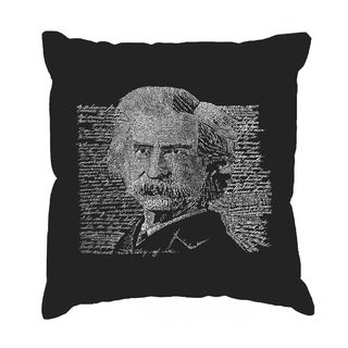LA Pop Art 'Mark Twain' Black Cotton 17-inch Throw Pillow Cover