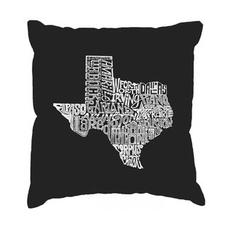 LA Pop Art The Great State of Texas Black Cotton 17-inch Throw Pillow Cover