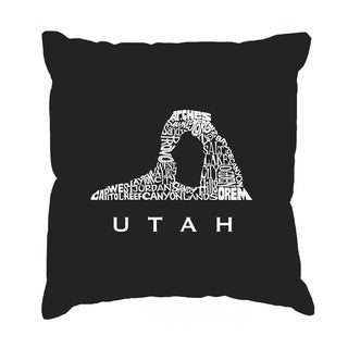LA Pop Art Black Cotton Utah 17-inch Throw Pillow Cover