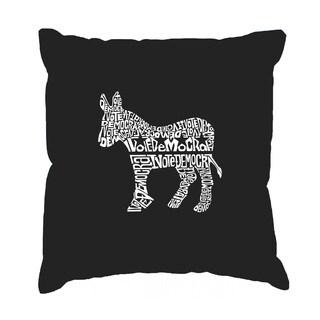LA Pop Art 'I Vote Democrat' Black Cotton 17-inch Throw Pillow Cover