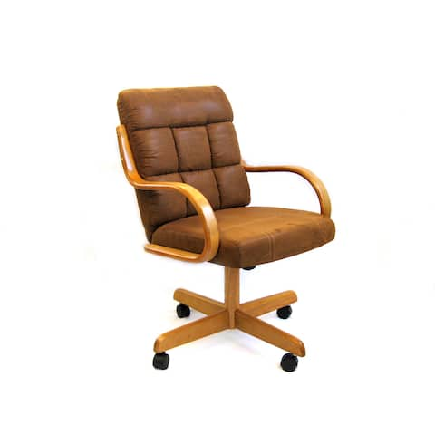 Caster Chair Company C118 Ashley Swivel Tilt Caster Arm Chair in Cocoa Microsuede