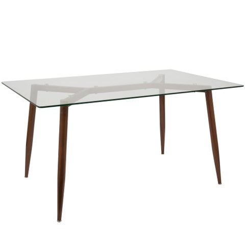 LumiSource Clara Glass and Metal 59-inch Mid-century Modern Dining Table - CLEAR