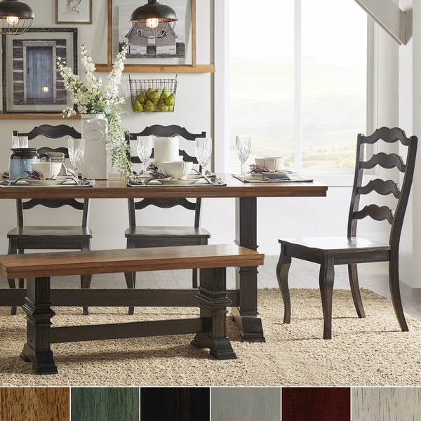 Eleanor Black Farmhouse Trestle Base French Ladder Back 6-piece Dining Set by iNSPIRE Q Classic