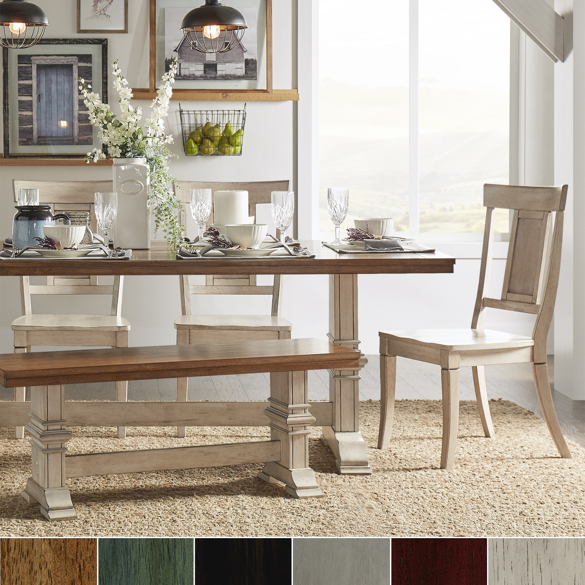Eleanor Antique White Farmhouse Trestle Base 6 Piece Dining Set   Panel  Back By INSPIRE