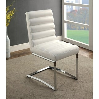 Furniture of America Casey Contemporary Tufted Leatherette Chrome Dining Chair (Set of 2)