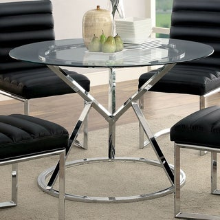 Furniture Of America Casey Contemporary Glass Top Chrome Round Dining Table