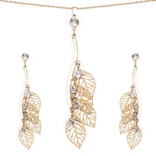 Liliana Bella Gold Plated Leaf shape Pendant and Earrings Set with White Stone