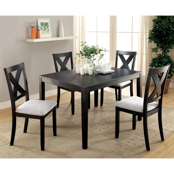 Furniture of America Marl Contemporary Black Fabric 5-piece Dining Set