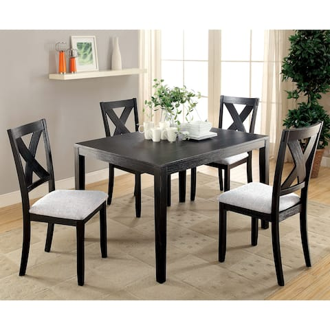 Dasni Contemporary Brushed Black 5-Piece Dining Set by FOA