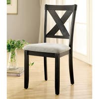 "Furniture of America Dasni Transitional X-back Fabric Brushed Black Dining Chair (Set of 2) - 17 1/2""W X 21""D X 38 3/4""H"