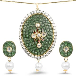 Liliana Bella Handmade Green Teardrop Necklace and Earring Set with White Pearl and CZ