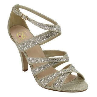 Delicious ID45 Women's Rhinestone Glitter Criss-cross Strap Heel Dress Sandal
