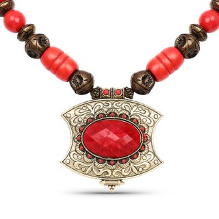 Liliana Bella Oxidised Gold Plated Red and Brown Wooden Beaded Necklace with Red Glass Stone