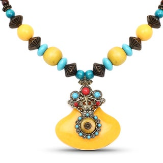Liliana Bella Oxidised Gold Plated Yellow and Turquoise Wooden Beaded Necklace with Red Glass Stone