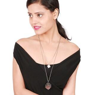 Liliana Bella Oxidised Dual Strand Square Necklace with White Glass
