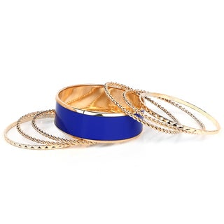 Liliana Bella Gold Plated Violet 7 Piece Bangle Bracelet Set