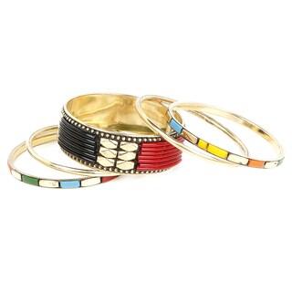 Liliana Bella Gold Plated Red and Black 5 Piece Bangle Bracelet Set