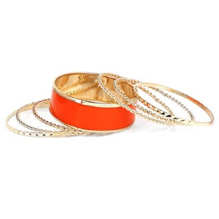Liliana Bella Gold Plated Orange 7 Piece Bangle Bracelet Set