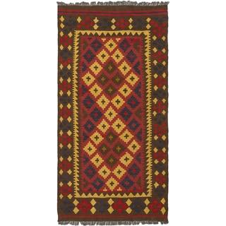 ecarpetgallery Hand Woven Kashkoli Kilim Brown, Red  Wool Kilim (3'3 x 6'5)